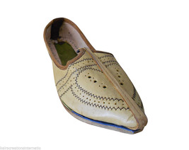 Men Shoes Indian Handmade Mojaries Espadrilles Leather Jutti Cream Flat US 8 - $34.99