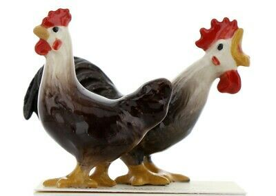 Hagen Renaker Miniature Chicken Leghorn Black Rooster & Brown Hen Set