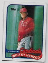 1989 Topps Baseball, #654, Whitey Herzog, St Louis Cardinals, Team Checklist - $0.99