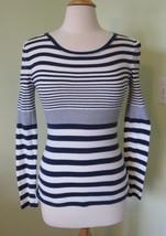 Old Navy Striped Sleeve Knit T Shirt Stretch Long Sleeve Top Crewneck Fi... - $4.97