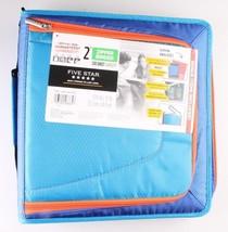 "NEW Five Star Zipper Binder + Tech Pocket, 2"", Blue Orange, 12-3/4"" x 12"" NWT"