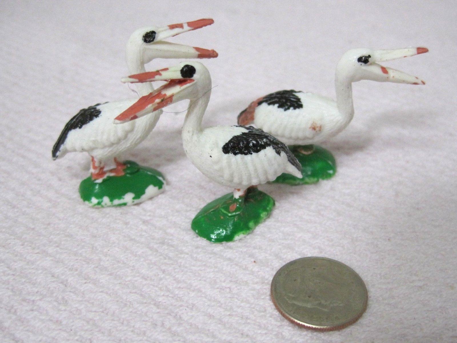 Vintage Miniature Bird Stork Pelican 1 5/8 x 1 1/2  Inches  Crafts 3 PC