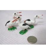 Vintage Miniature Bird Stork Pelican 1 5/8 x 1 1/2  Inches  Crafts 3 PC - $15.35