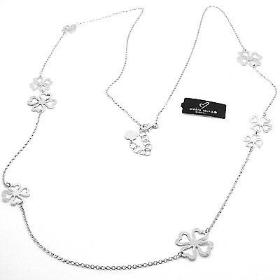 Necklace Silver 925, Four-Leaf Clover Lucky, Long 85 cm, by Maria Ielpo