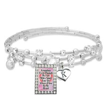 Custom Grandma Even Though We are Miles Apart Silver Bracelet with Initial Charm - $16.73