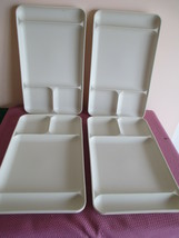 LOT OF 4 TUPPERWARE DIVIDED LUNCH TRAYS #1535, ALMOND, CAMPING - $14.24