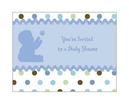 Tickled Blue Baby Shower Invitations with Envelopes 8 Per Package New - $2.92