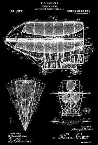 Primary image for 1908 - Flying Machine - H. B. Schiller - Patent Art Poster