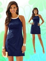 Lilly Pulitzer Pearl True Navy Jumbo Sunflower Eyelet Shift Dress 14 $218 - $148.50
