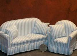 1 Set Dollhouse Miniature Fabric Blue Sofa Chair Living Room 1:12 scale ... - $108.00