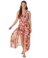 Du Jour Size 14 Petite Sleeveless Printed Romper Skirt Overlay Coral Ora... - $34.42
