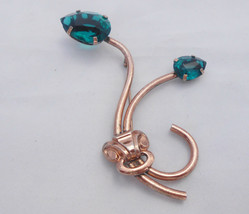 Tulip Sterling Silver Blue Green Faceted Glass Brooch Pin 1940's - $33.24