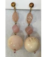 Stud Earrings Dangling Ball Pink Marbling Acrylic Beads Copper Pair Vint... - $9.89