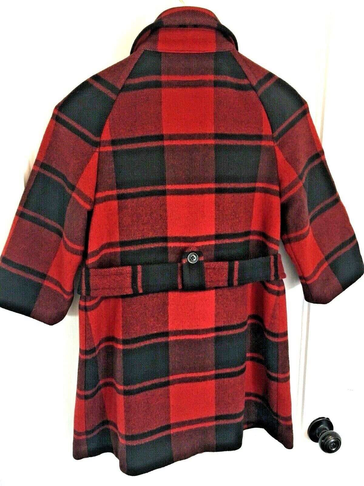 GAP Buffalo Check Red & Black 3/4 Sleeve Plaid Wool Pea Coat Jacket SIZE XS