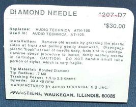 TURNTABLE NEEDLE GENUINE AUDIO TECHNICA ATN-105 ATN110E AT-105 Pfanstiehl 207-D7 image 3