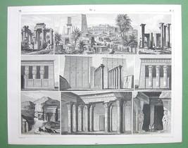 ARCHITECTURE Egyptian Temples Philae Karnak Tantyra - 1844 Original Print - $30.60