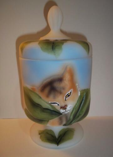 Fenton Glass Tiger Cat Chessie Box FAGCA Ltd Ed of 30 by CC Hardman 2016