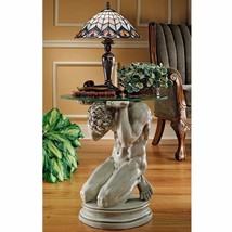 Round End Table Deco Male Statue Sculpture Unique Art Home Coffee Side F... - $272.24