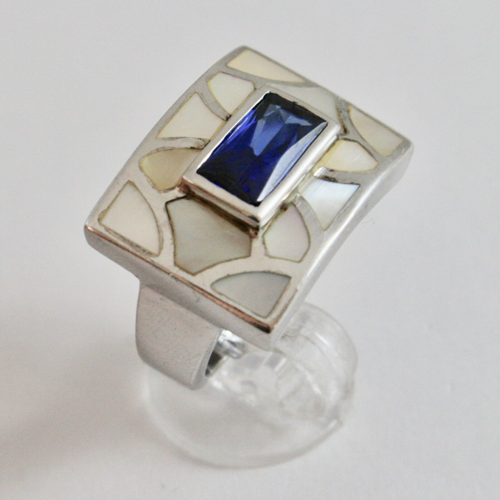 Silver Ring 925 Rhodium with Nacre White and Crystal Blue Rectangular