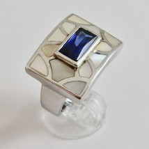 Silver Ring 925 Rhodium with Nacre White and Crystal Blue Rectangular image 1