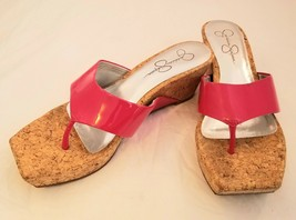 Jessica Simpson Vandy Pink Patent Leather Sandal Thong Cork Wedge Size 8B - $27.00