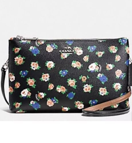 NWT Coach Lyla Crossbody Tea Rose Floral Print Coated Canvas F57628 Black Bags