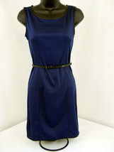Max Studio  Blue & Black with Faux Leather Trim Dress -  Size L - $38.48