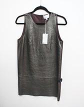 3.1 PHILLIP LIM Lamb Leather Graphite & Burgundy/Brown Shift Dress Sz 4 ... - $8.517,41 MXN