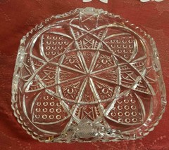 """VINTAGE TURNED UP CORNERS CUT GLASS CANDY DISH 6.5""""x6.5""""x2"""""""