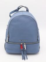 NWT MICHAEL Michael Kors Rhea Zip Denim Blue Leather Backpack Bag New $298 - $198.00