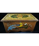 Vintage Handmade Wood Storage Box with Tray Handpainted PA Dutch Signed ... - $51.48