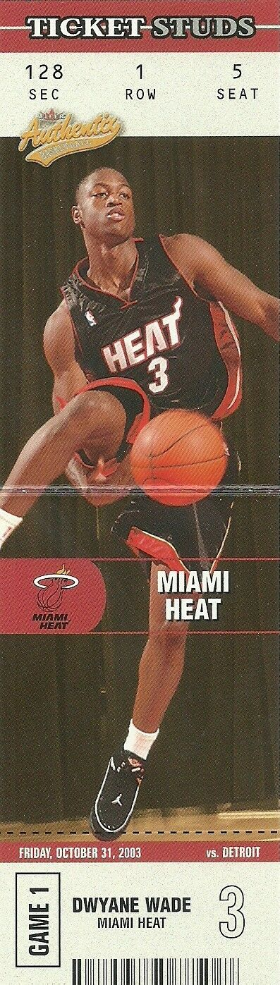 2003-04 FLEER AUTHENTIX TICKET STUDS #7 DWYANE WADE RC HEAT FREE SHIPPING