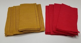 Linen Napkins Gold & Red Lot of 8 - $9.99