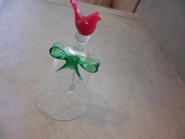"""Clear Glass Bell With Red Bird Green Bow On Top 4"""" Tall EUC - $7.35"""