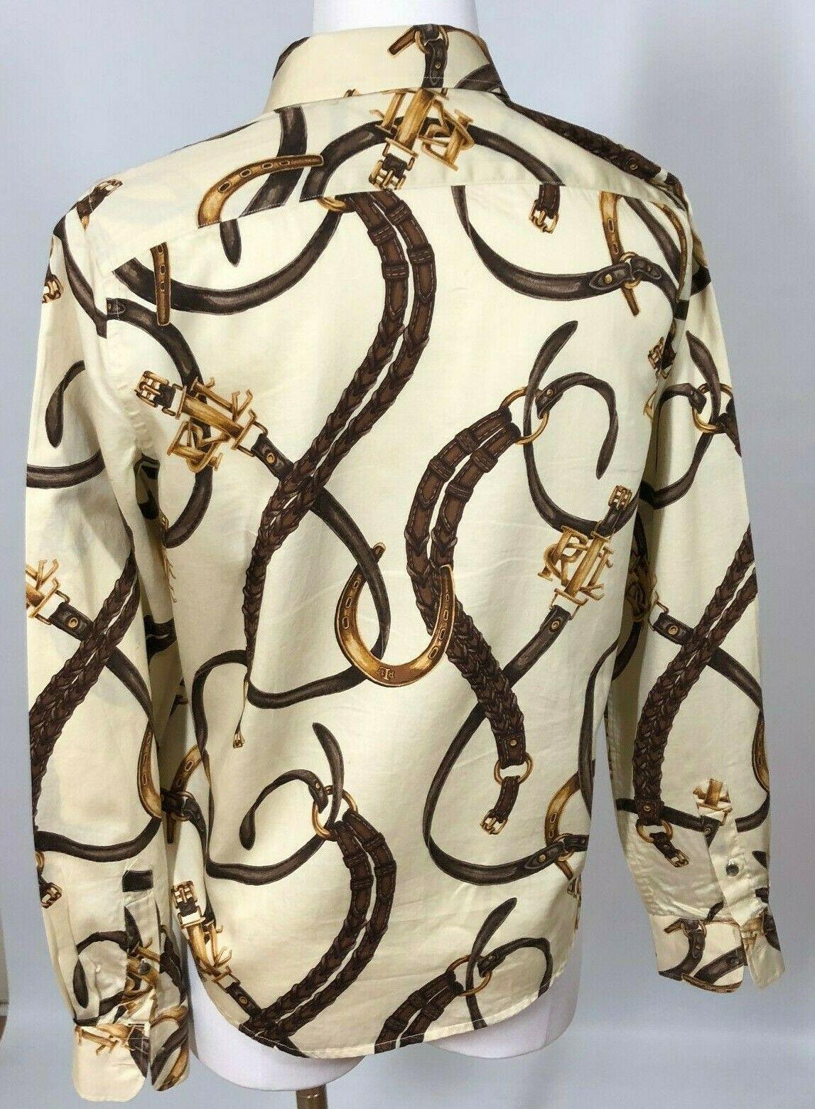 Ralph Lauren Womens XS Equestrian Shirt Long Sleeve Horse