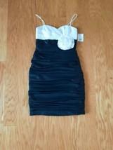 NWT David's Bridal White and Black Ruched Spaghetti Strap Short Dress Size 4 - $29.69