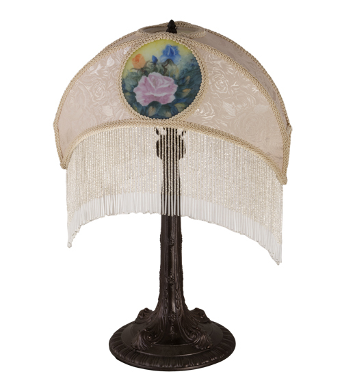 """23"""" High Reverse Painted Roses Fabric Table Lamp"""