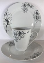 Rare Oneida Porcelain Midnight Floral 3 Piece Place Setting Service Set ... - $89.09
