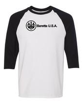 Beretta USA Script Black Logo Raglan Baseball T Shirt Pro Gun Rights Whi... - $19.79+