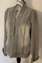 Chicos Platinum Womens Jacket Size 3 Large Jean Gray Stretchy Denim Ruff... - $29.90