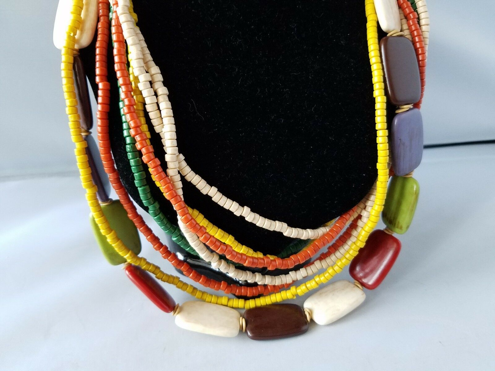 Vintage Women's Necklace Wooden Puka Bead Multi Strand Fashion Jewelry