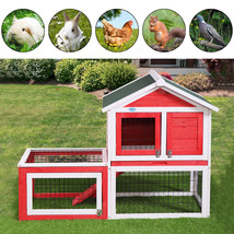 NEW! Rabbit House Hutch Chicken Coop Small Animal Cage w/ Tray Run - $113.54