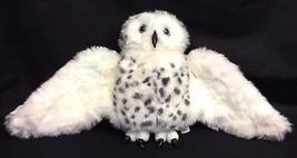 "Folkmanis Snowy Owl White Gray Spots 13"" Plush Hand Puppet Rotating Head - $15.95"