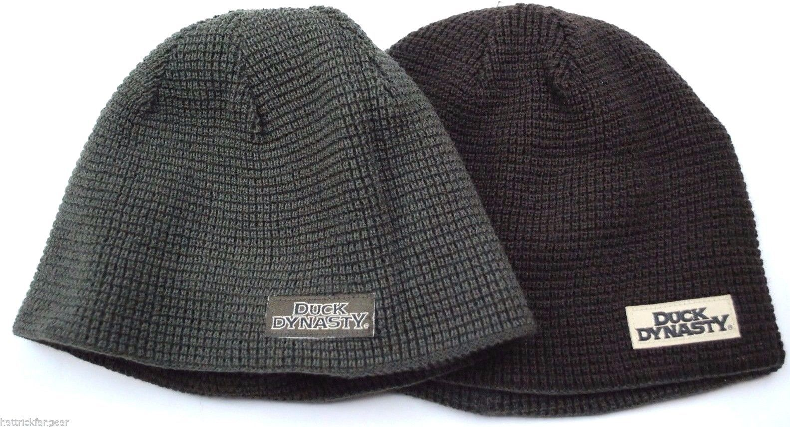 size 40 5b41d c83f7 DUCK DYNASTY REVERSIBLE WAFFLE KNIT WINTER HAT BEANIE TOQUE - OSFM
