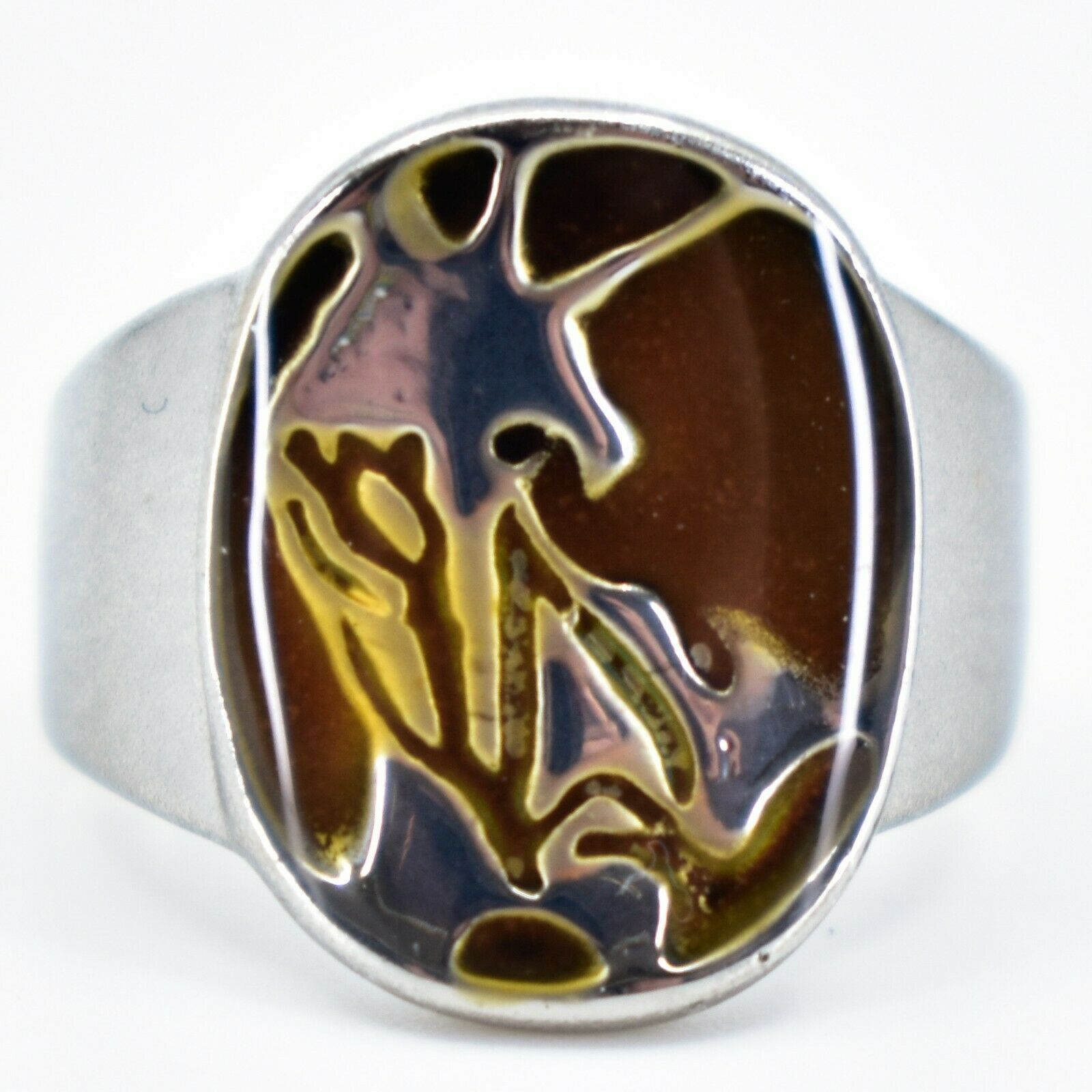 Silver Painted Abstract Design Color Changing Contrasting Mood Ring