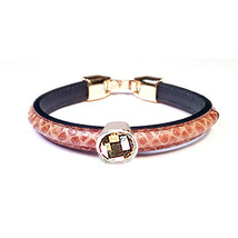 Pulsera de cuero y cristal Swarovski / Leather and Swarovski crystal bra... - $465,37 MXN
