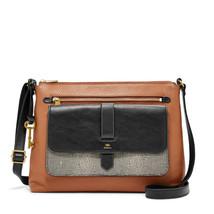 Fossil Kinley Neutral Multi Leather Zipper Closure Medium Crossbody/Shou... - $319.99