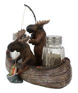 "7""L Rustic Forest 2 Moose Elks Fishing With Net And Rod Salt Pepper Shak... - $62.17"