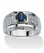 Men's 1 TCW Genuine Sapphire and CZ Ring in .925 Silver - $69.82