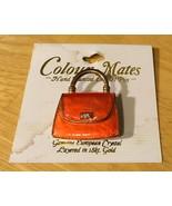Colour Mates Coral Handbag Pin Enamel 18K Gold Layered Crystal NWT - $6.79